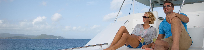 couple on sundeck on yacht