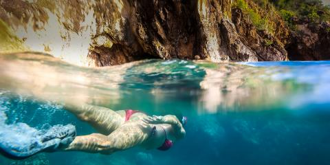snorkeler in the BVI
