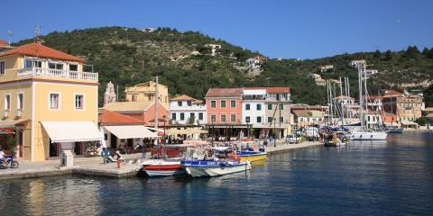 Corfu mountain and waterfront view