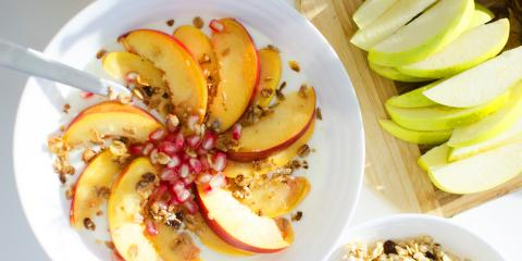 Apples, pomegranate, and oatmeal bowl