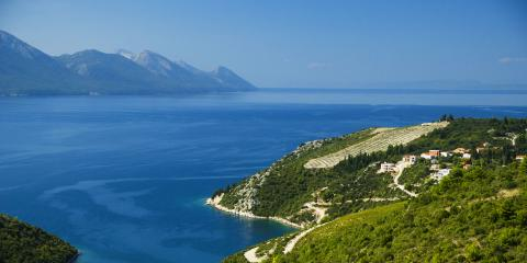 Mountains looking over water in Croatia