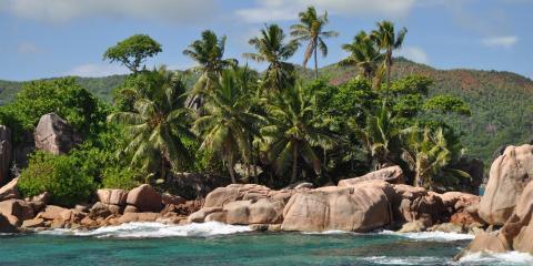 Seychelles rocky beach