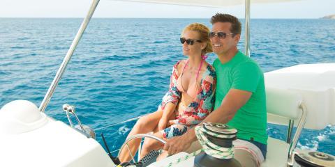 Couple sailing on sea
