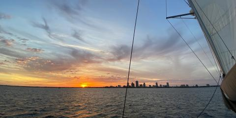 St. Petersburg Florida Sunset on a Fountaine Pajot Helia