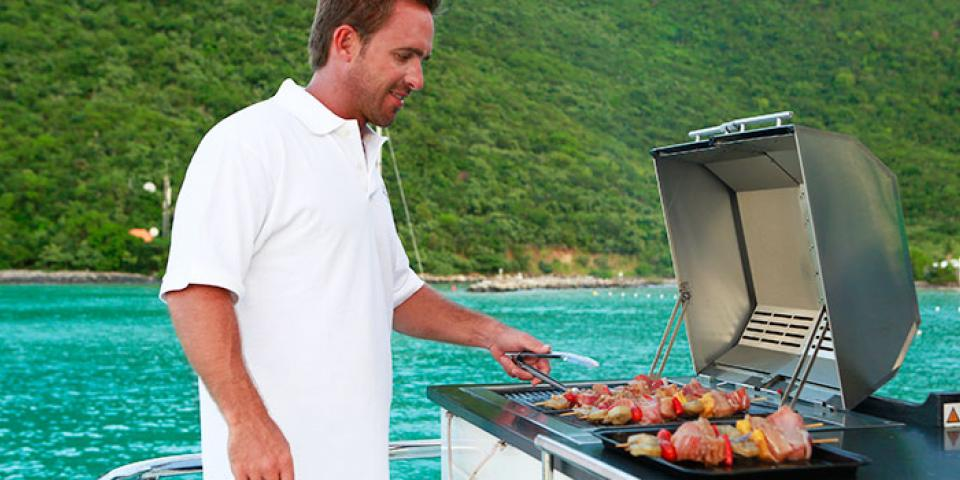 grilling kebabs in the Caribbean