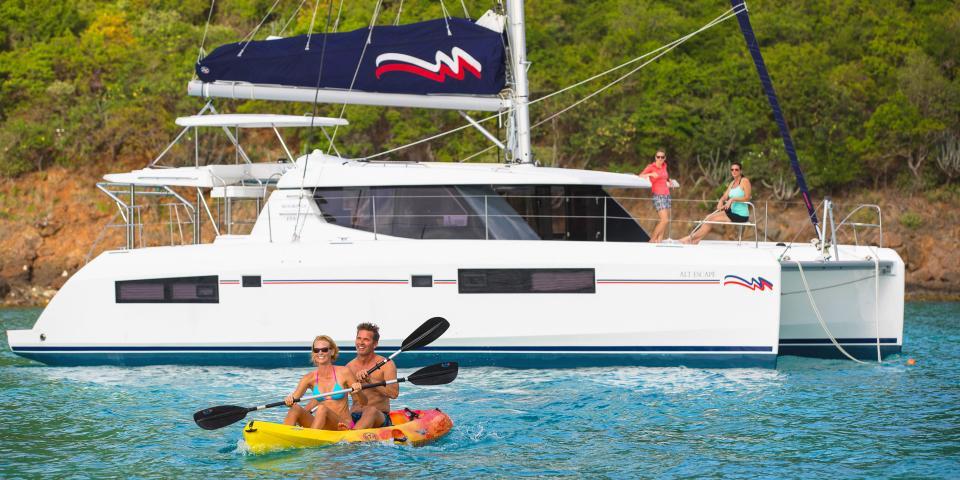 Couple kayaking in the Virgin Islands