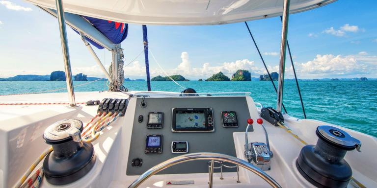 Sailing a catamaran in thailand