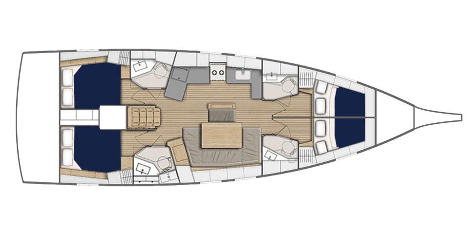 Beneteau Oceanis 47 plattegrond