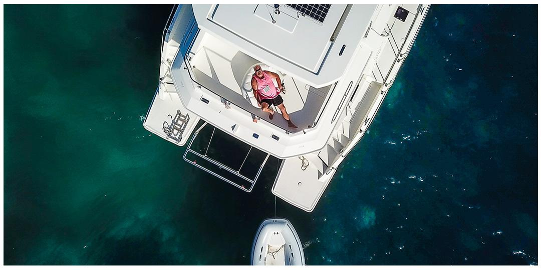 Drone of Tom on a boat