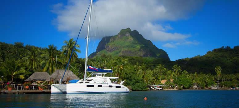 bareboat catamaran docked in Tahiti