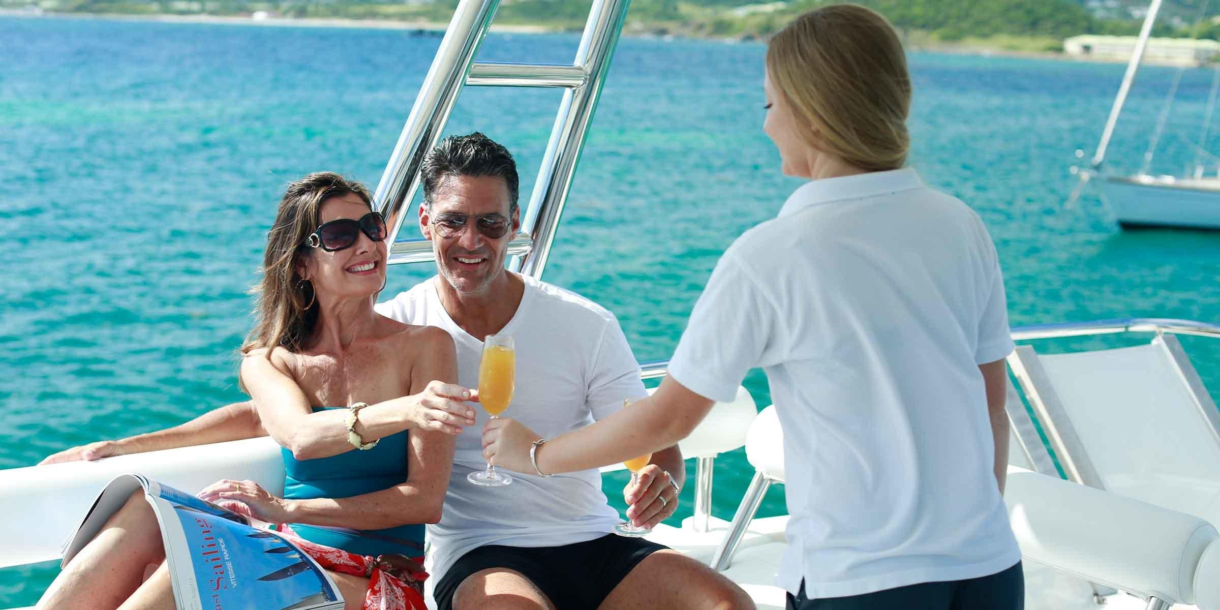 Couple on crewed yacht charter