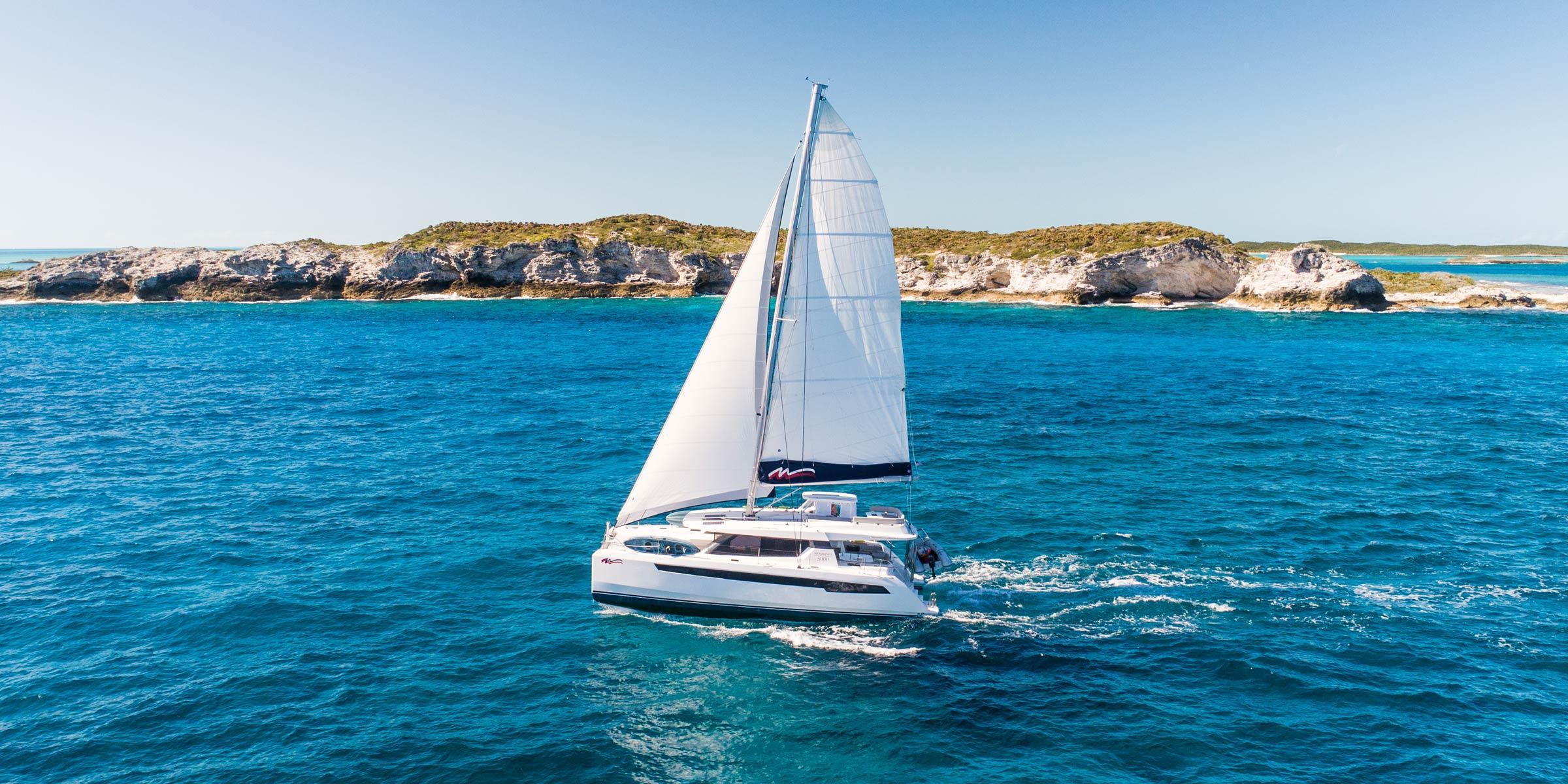 Moorings 5000 sailing in the Exumas, Bahamas