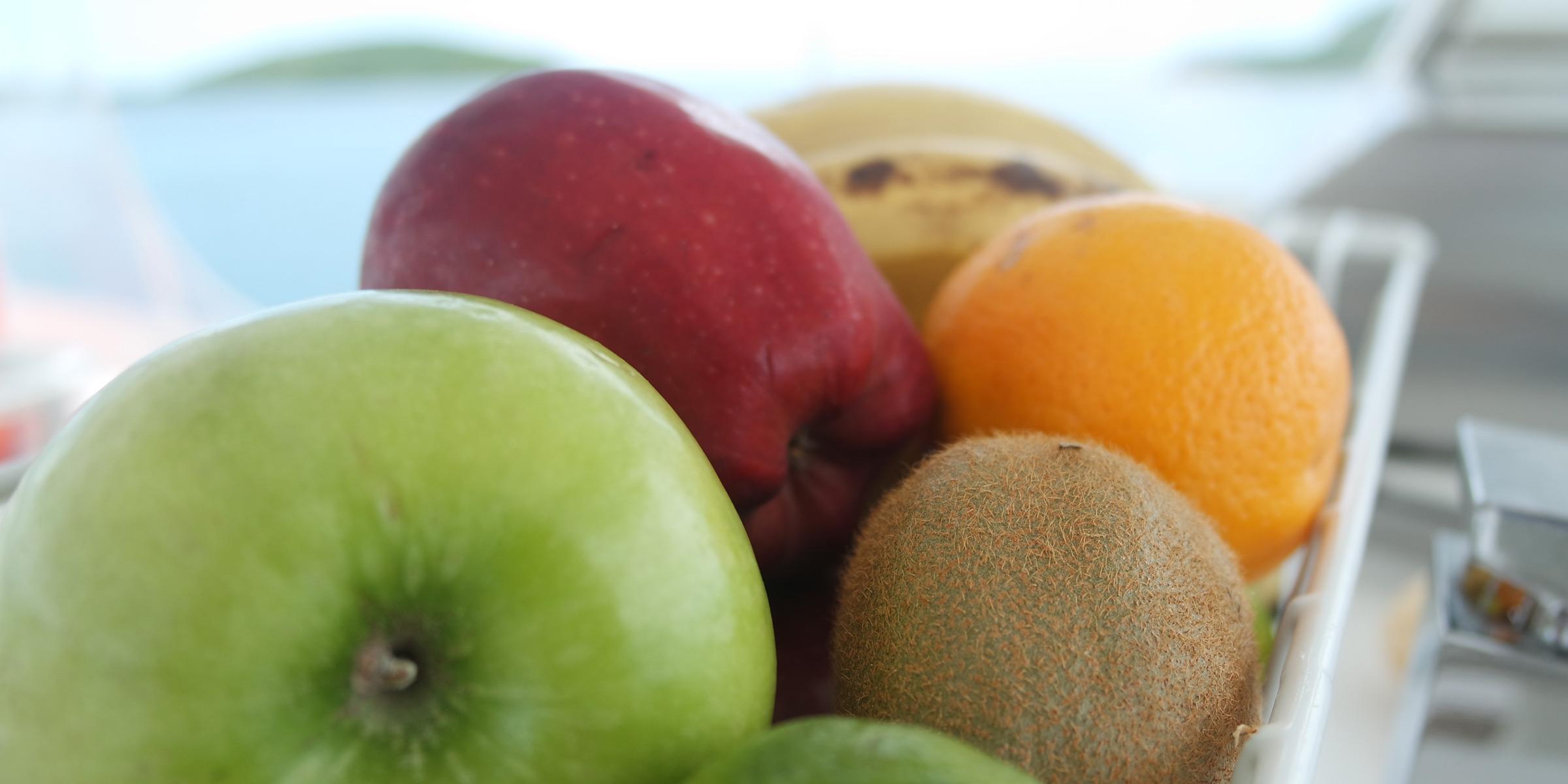 Fruit with apples, kiwi and orange
