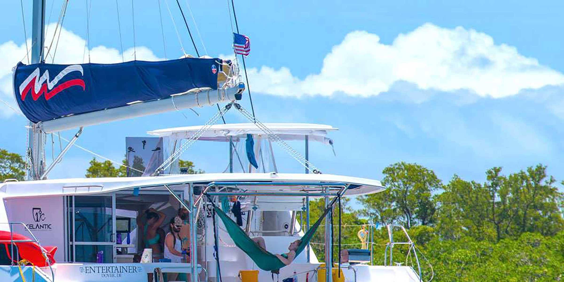 Hammock on yacht in Caribbean