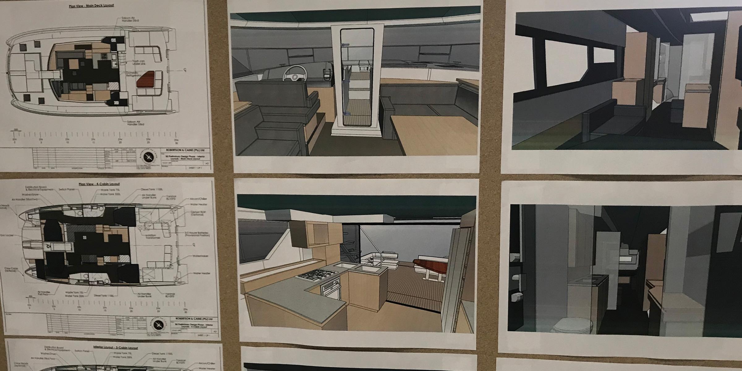 Catamaran design - Layouts and renderings