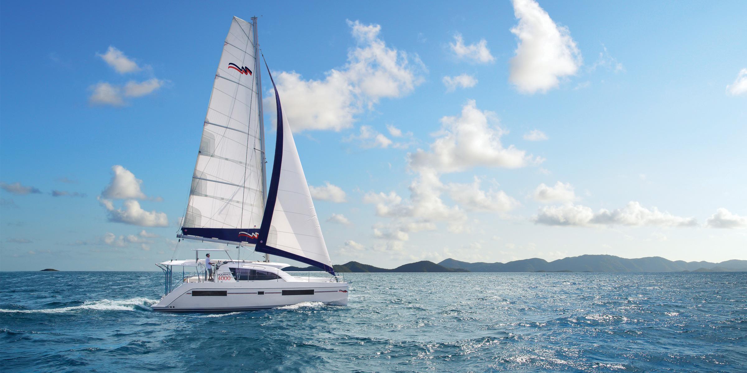 Moorings 4000 under sail