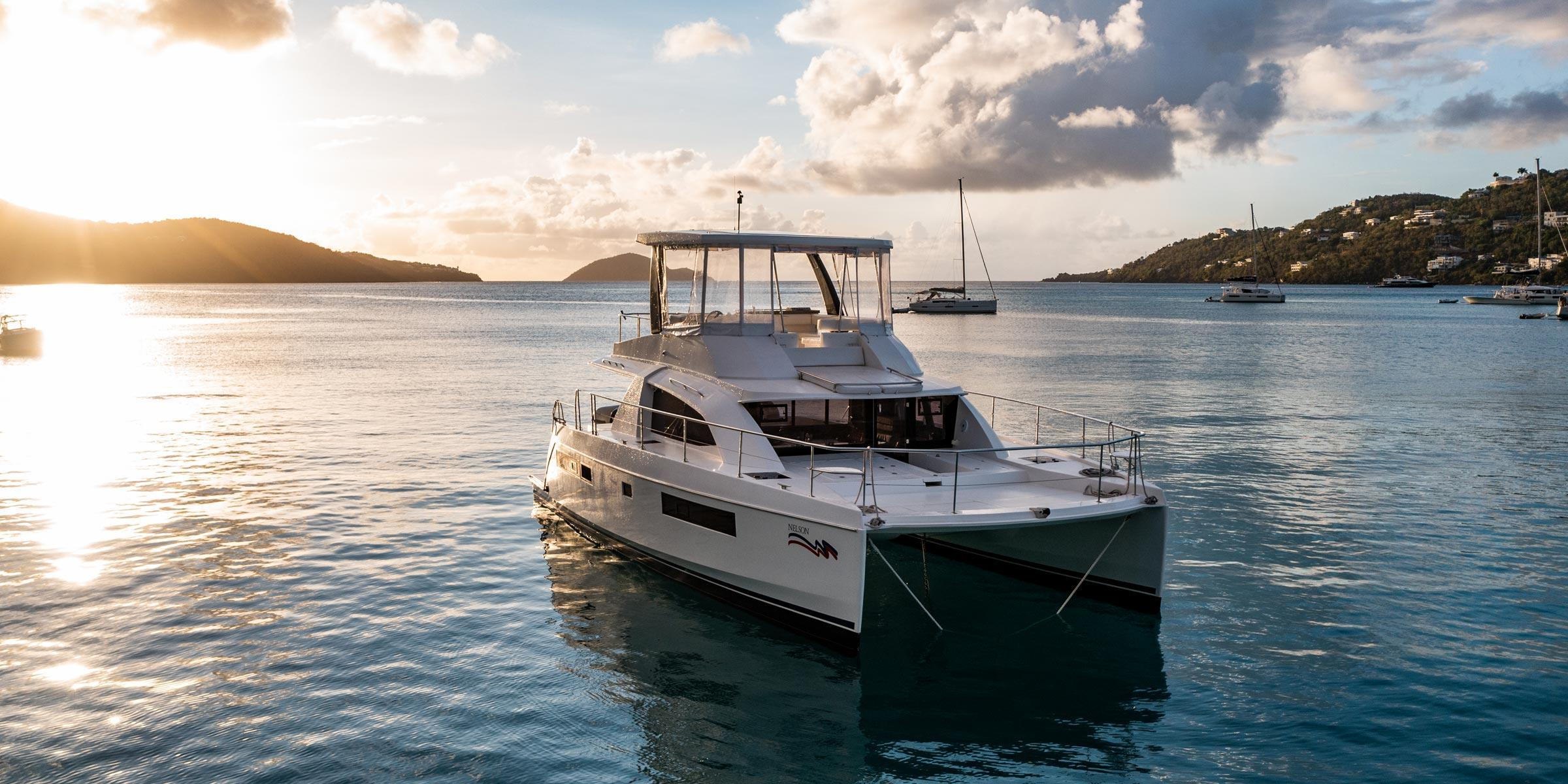 Moorings 433PC at sunset at Magen's Bay St. Thomas in the USVI