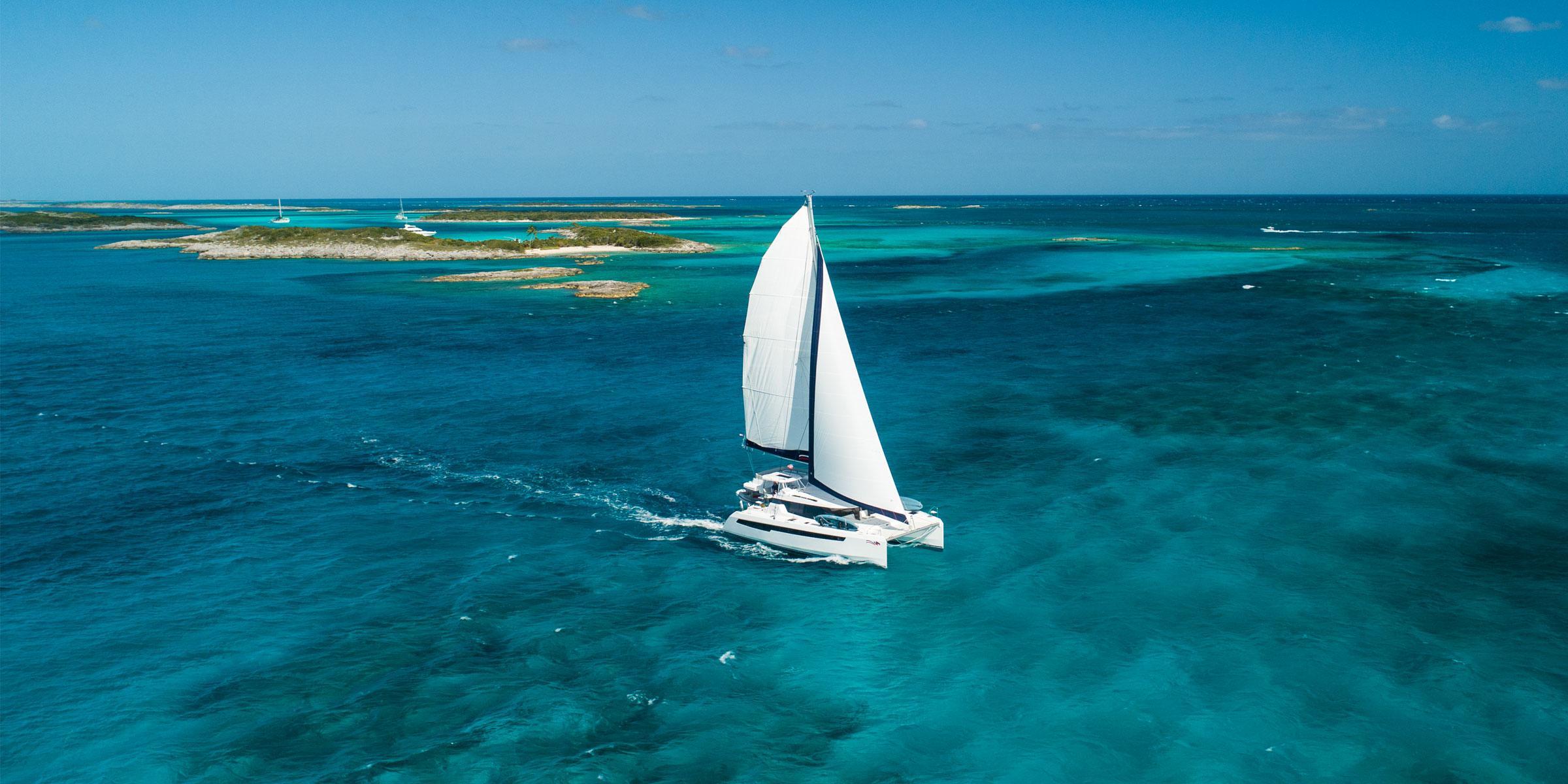 Moorings 5000 under sail in the Exumas