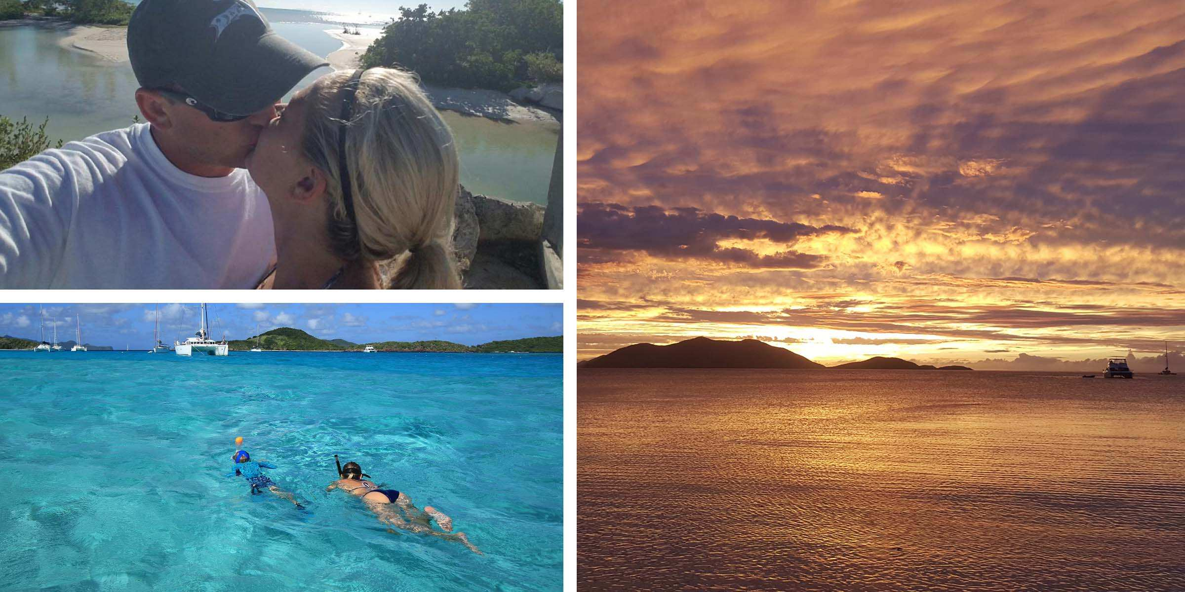 The Moorings guests kissing, snorkeling and enjoying Caribbean sunsets