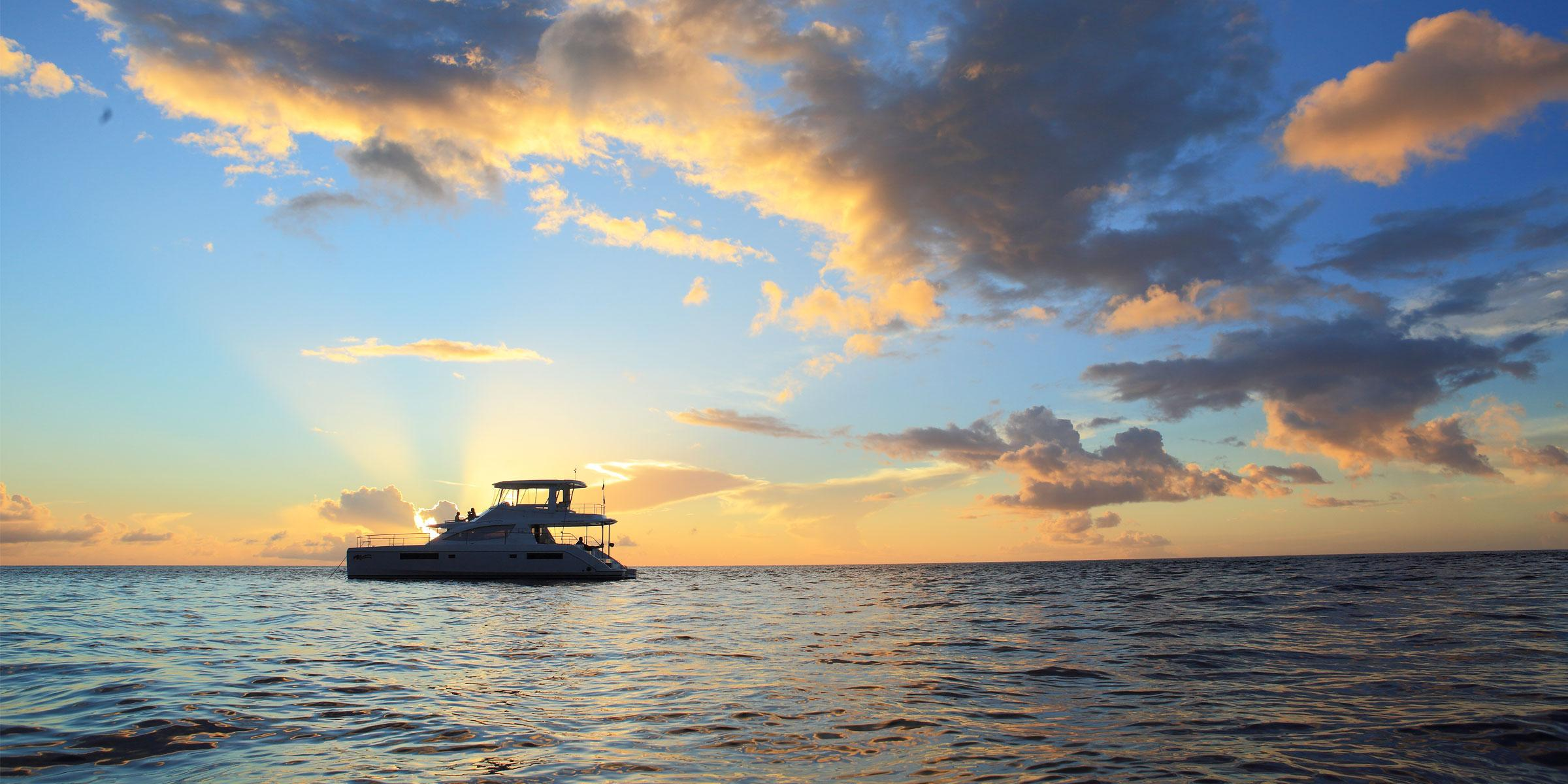 Moorings 514PC in the sunset in St. Lucia