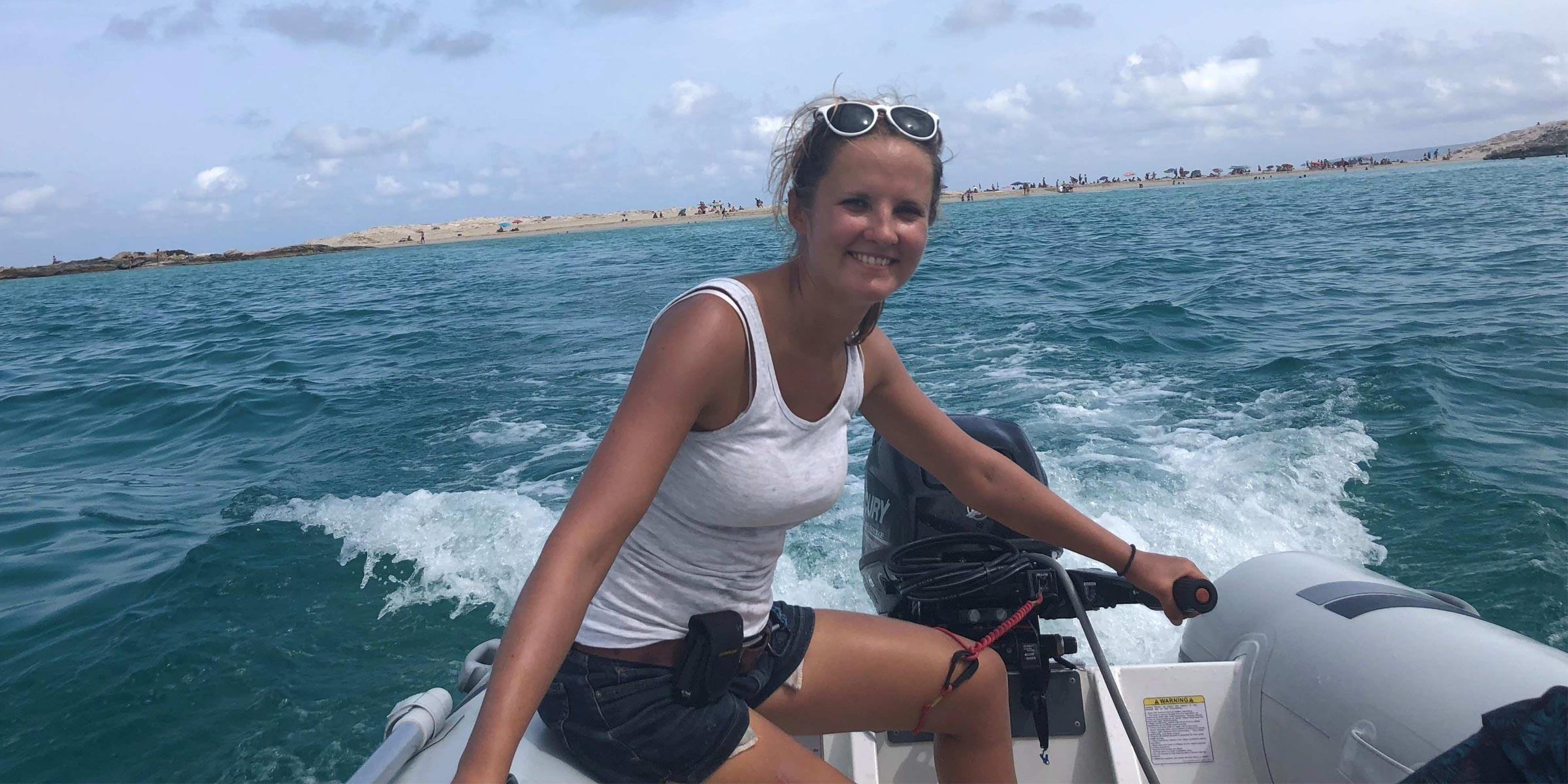 Professional skipper Jovita in the dinghy