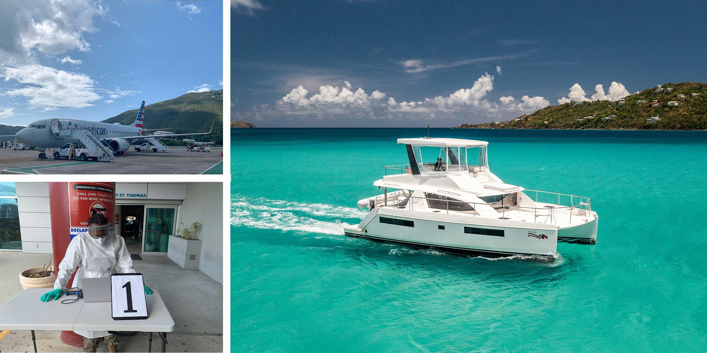 St. Thomas Airport and the Moorings 433PC at Magen's Bay in the USVI
