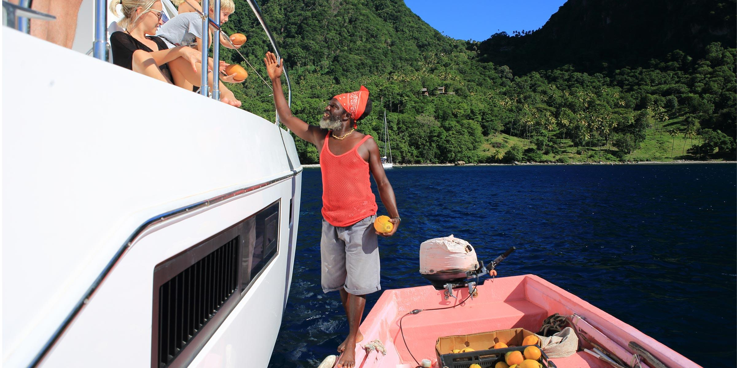 Local vendor selling fruit in St. Lucia