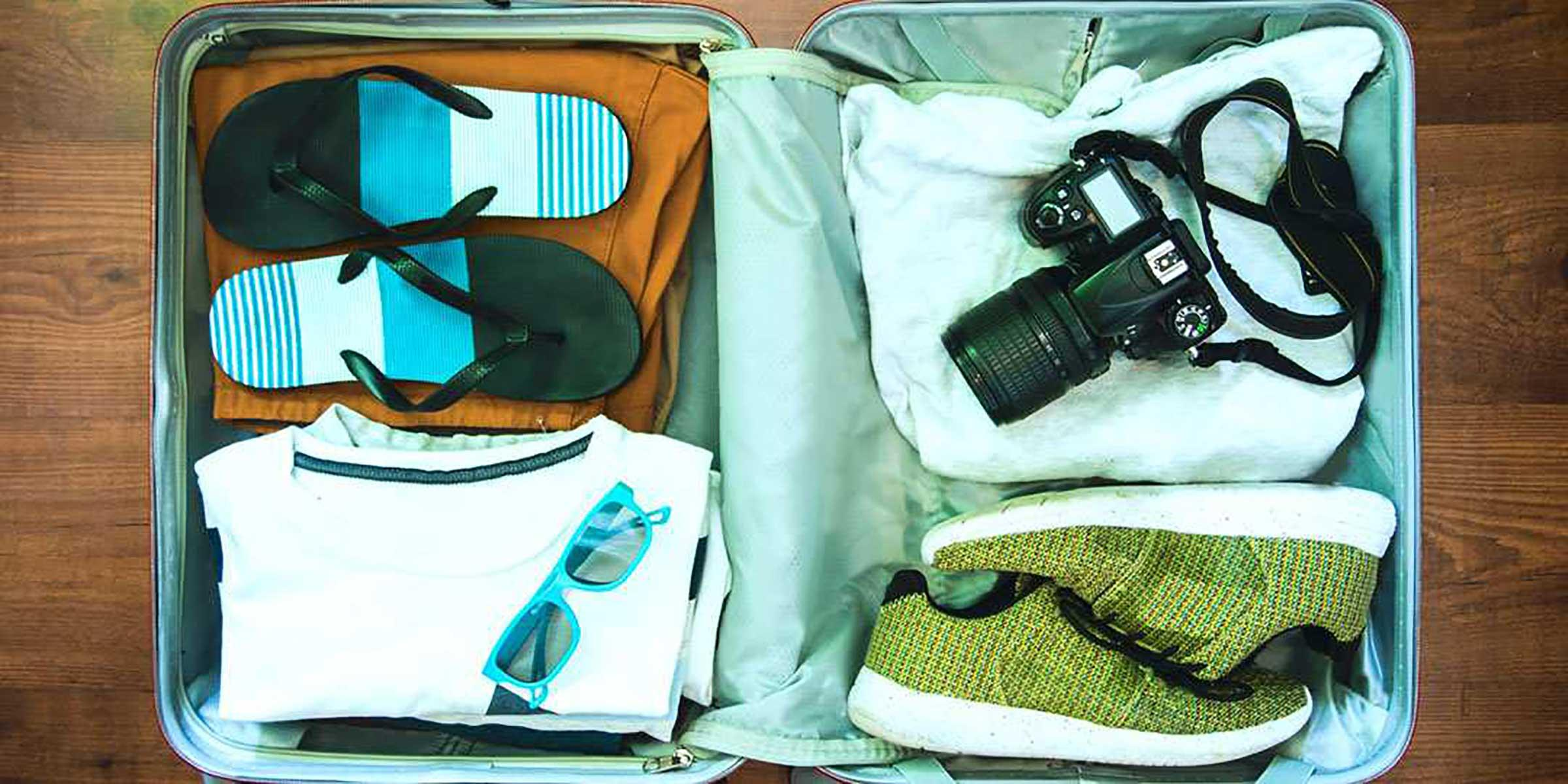 Suitcase packed for Caribbean Vacation