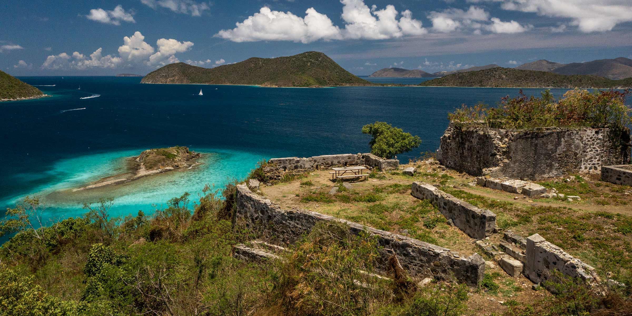Windy Hill Ruins on St. John overlooking Waterlemon Cay